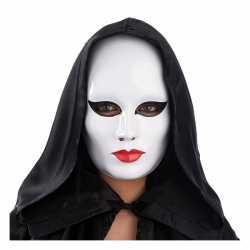 Vrouwen masker wit rode lippen