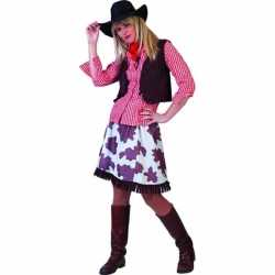 Wild west cowboy overhemd dames rood/wit