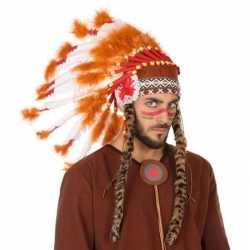 Wit/oranje luxe indianen tooi feest heren