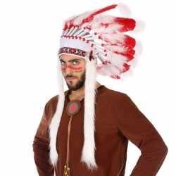 Wit/rode luxe indianen tooi feest heren