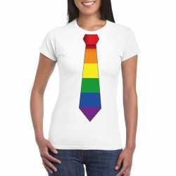 Wit t shirt regenboog vlag stropdas dames