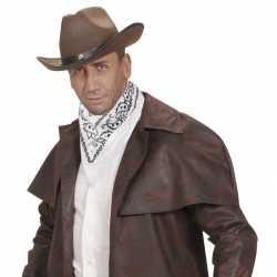Witte cowboy bandana zakdoek 55 bij 55 centimeter