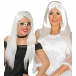 Witte engelen pruik feest dames