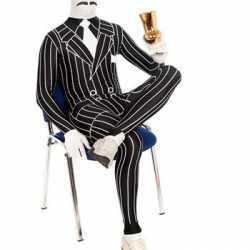 Zentai gangster kleding krijtstreep