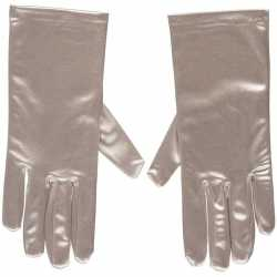Zilveren gala handschoenen kort van satijn 20 centimeter