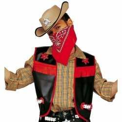 Zwart cowboy vestje feest kinderen