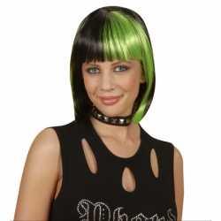 Zwart groen boblijn dames pruik