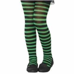Zwart/groene verkleed panty feest kinderen