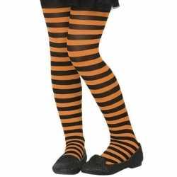 Zwart/oranje verkleed panty feest kinderen