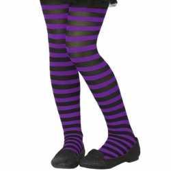 Zwart/paarse verkleed panty feest kinderen