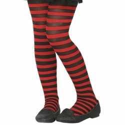 Zwart/rode verkleed panty feest kinderen