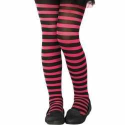 Zwart/roze verkleed panty feest kinderen
