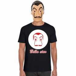 Zwart salvador dali t shirt la casa de papel masker heren