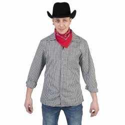 Zwart/wit geruit cowboy verkleed overhemd feest heren