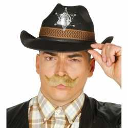 Zwarte cowboy verkleedhoed feest heren