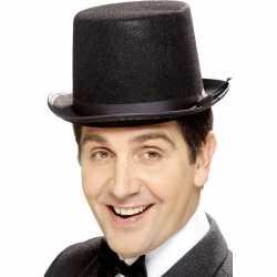 Zwarte hoge hoed vilt feest heren