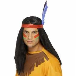Zwarte indianen pruik veren