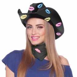 Zwarte kartonnen cowboyhoed lippen/kusjes feest dames