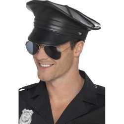 Zwarte politiepet lederlook feest heren