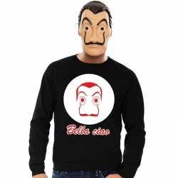Zwarte salvador dali sweater la casa de papel masker heren