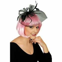 Zwarte sluier verkleedaccessoire strik veren feest dames
