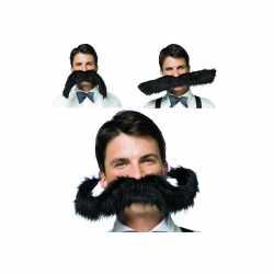 Zwarte snor extra groot carnavalskleding accessoire 50 centimeter