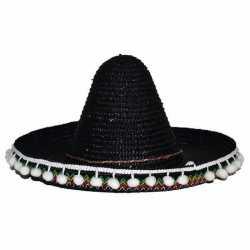 Zwarte sombrero 25 centimeter feest kinderen